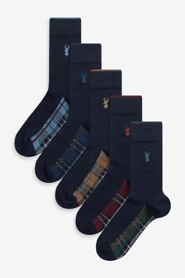 Navy Check Footbed Socks 5 Pack