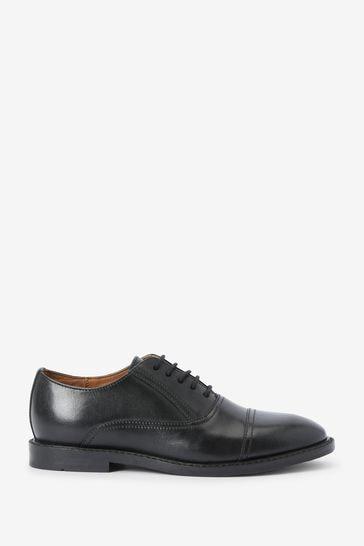 Black Leather Oxford Toe Cap Shoes