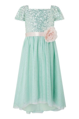 Monsoon Duck Egg Sara Flutter Sleeve Dress
