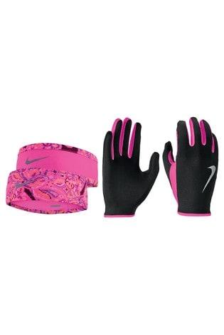 Nike Pink Headband And Gloves Set