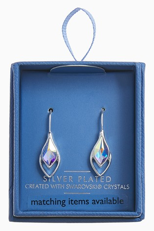 Silver Tone Tear Drop Earrings With Swarovski® Crystals