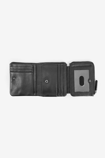 Black Leather Zipped Pocket Trifold Wallet