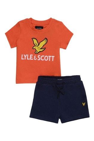 Lyle & Scott Boys Orange Eagle Logo T-Shirt And Shorts Set