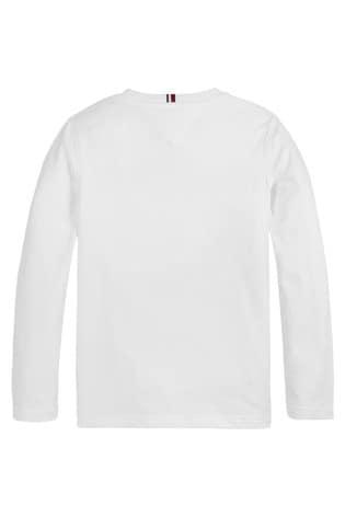 Tommy Hilfiger White Heritage Logo Long Sleeve T-Shirt