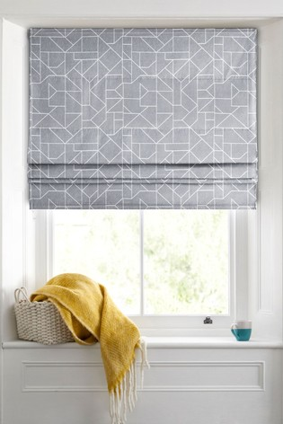 Linear Geo Grey Made To Measure Roman Blind