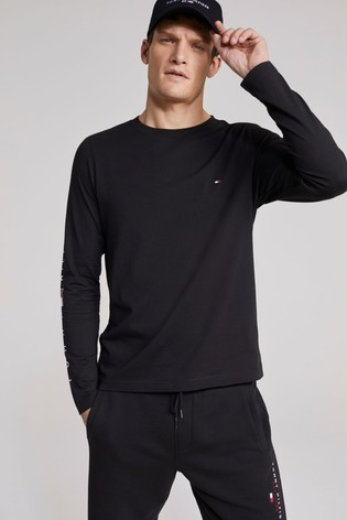 Tommy Hilfiger Black Essential Long Sleeve Tommy T-Shirt
