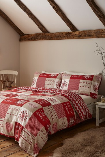 Catherine Lansfield White Let It Snow Duvet Cover and Pillowcase Set