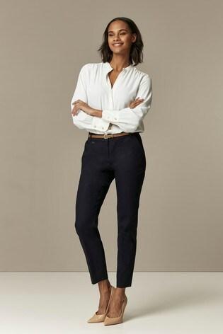 Wallis Blue/Navy Cotton Belted Cigarette Trousers