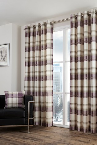 Balmoral Check Eyelet Lined Curtains by Fusion