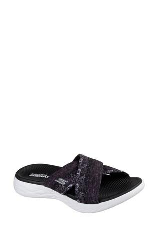 Skechers® Black On The Go 600 Monarch Black Cross Band Sandal