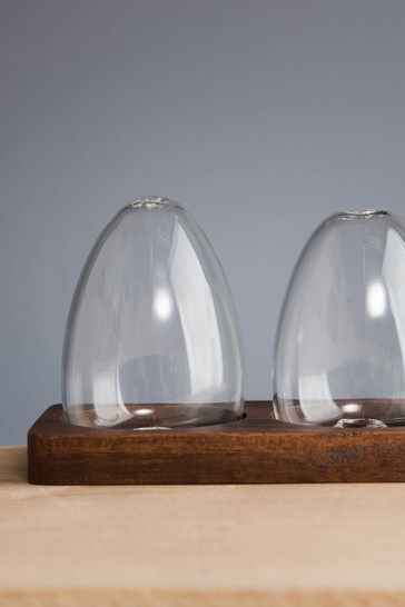Artisan Street Unfilled Glass Salt And Pepper Shakers In A Wooden Base