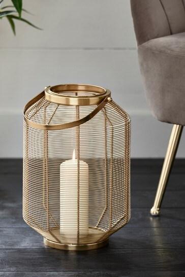 Large Gold Wire Lantern