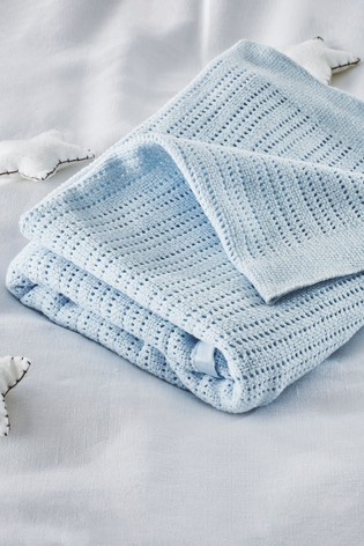 The White Company Blue Cellular Satin Blanket