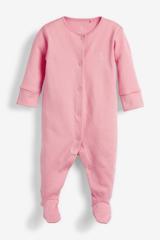 Pink/White 3 Pack GOTS Certified Organic Cotton Sleepsuits (0-2yrs)