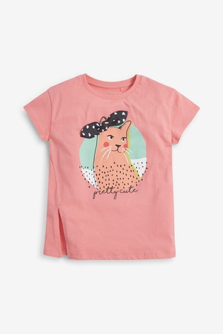 Pink Embroidered 3D Headband Cat T-Shirt (3-16yrs)