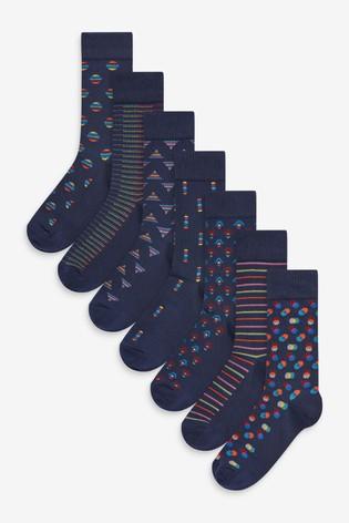 Navy Geometric 8 Pack Pattern Socks