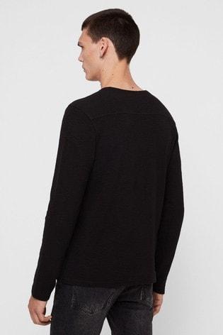 AllSaints Black Textured Clash Sweatshirt
