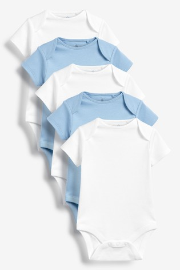 Blue/White 5 Pack Cotton Short Sleeve Bodysuits (0mths-3yrs)