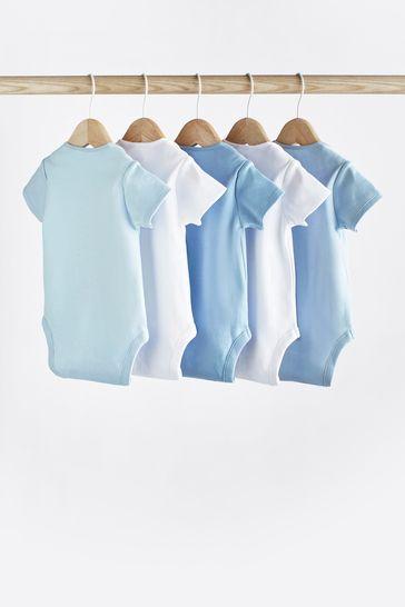 Blue/White 5 Pack Short Sleeve Bodysuits (0mths-3yrs)