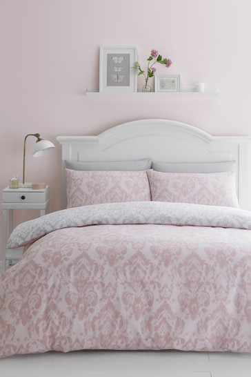 Catherine Lansfield Damask Duvet Cover and Pillowcase Set