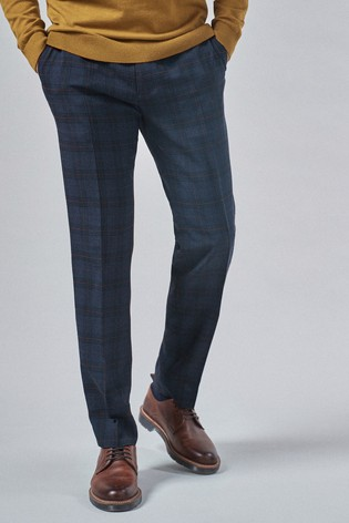 Navy/Rust Regular Fit Check Slim Fit Trousers