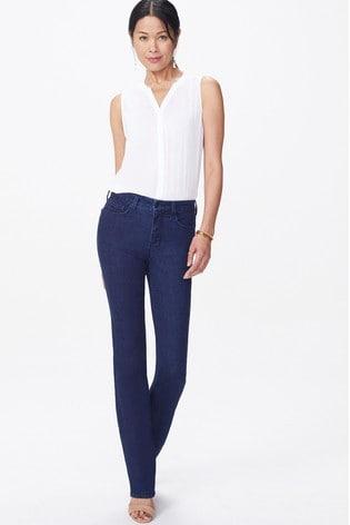 NYDJ Dark Blue Rinse Denim Marilyn Straight Leg Jeans