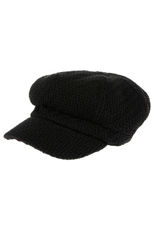 Accessorize Black Textured Bakerboy Hat