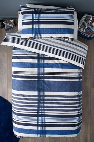 2 Pack Blue Check Reversible Duvet Cover and Pillowcase Set