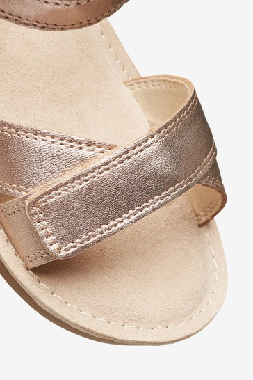 Rose Gold Leather Standard Fit (F) Little Luxe™ Sandals (Younger)