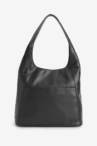 DKNY Black Faux Leather Alixis Chain Hobo Bag