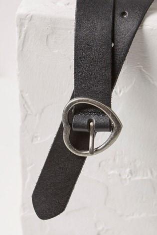 FatFace Black Heart Buckle Leather Belt