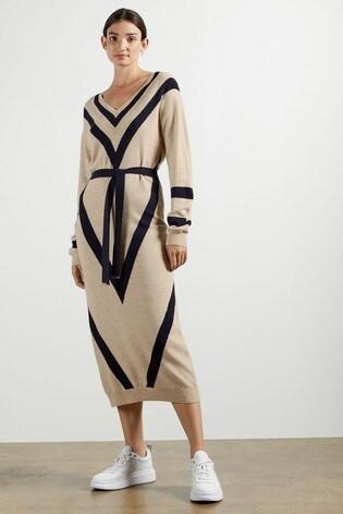 Ted Baker Bertta Chevron Detail Knitted Midi Dress