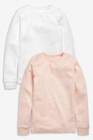 Pink/White 2 Pack Long Sleeve Thermal Tops (2-16yrs)