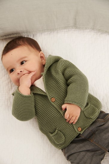 Khaki Hooded Cardigan (0mths-3yrs)