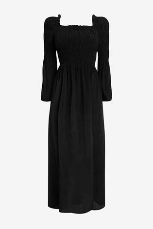 River Island Black Shirred Puff Sleeve Maxi Dress