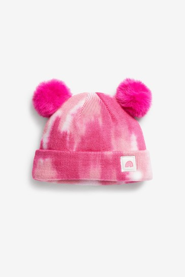 Pink Tie Dye Double Pom Hat (Younger)