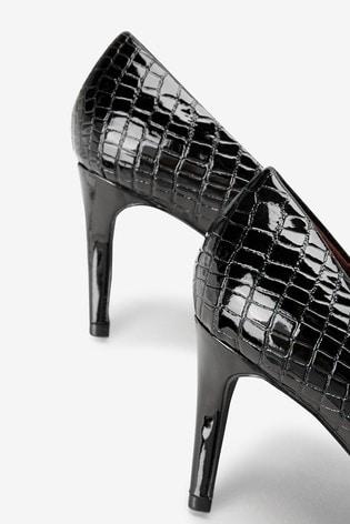 Black Croc Effect Extra Wide Fit Almond Toe Court Shoes
