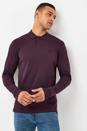 Burgundy Long Sleeve Pique Polo Shirt