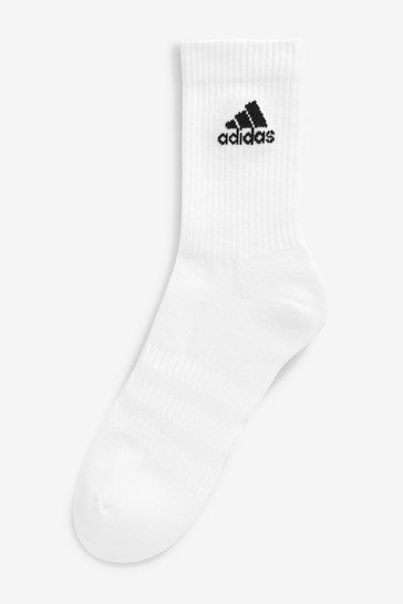 adidas Adult White Crew Socks Six Pack