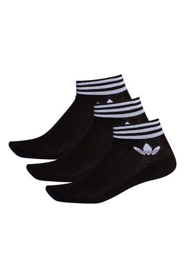adidas Originals Adult Black Mid Cut Ankle Socks