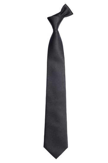 Black Wide Signature Textured Silk Tie