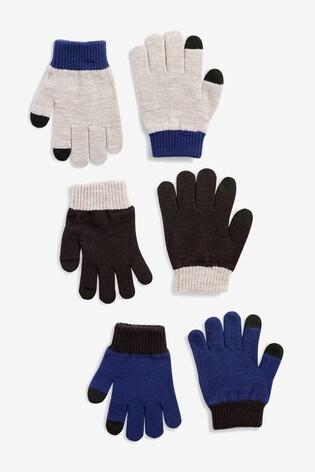 Navy/Grey 3 Pack Gloves (Older)