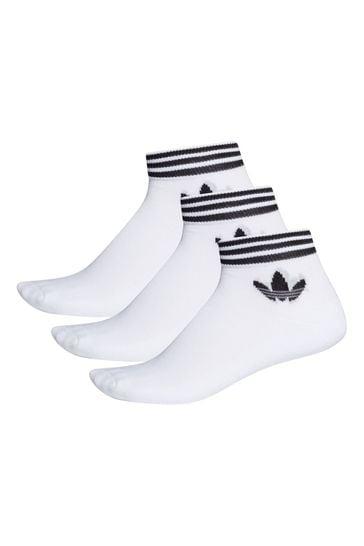 adidas Originals Adult White Mid Cut Ankle Socks Three Pack