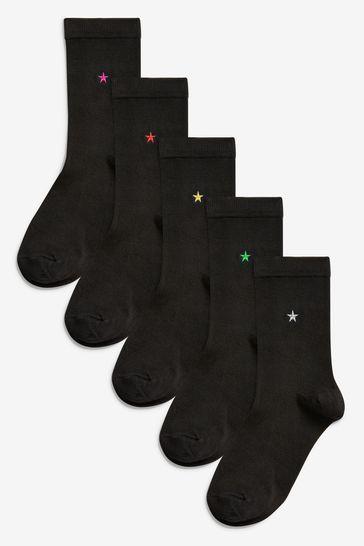 Star Motif Ankle Socks Five Pack