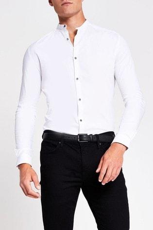River Island White Grandad Muscle Fit Shirt