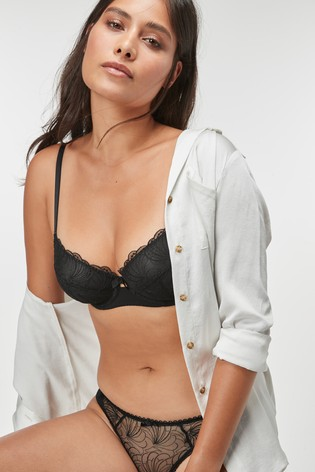 Black/White Lizzie Non Pad Balcony Bras Two Pack