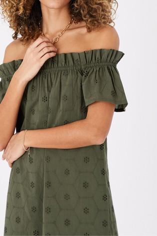 Accessorize Green Schiffly Organic Cotton Bardot Dress