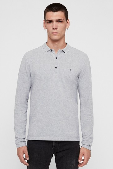AllSaints Grey Marl Long Sleeve Reform Poloshirt