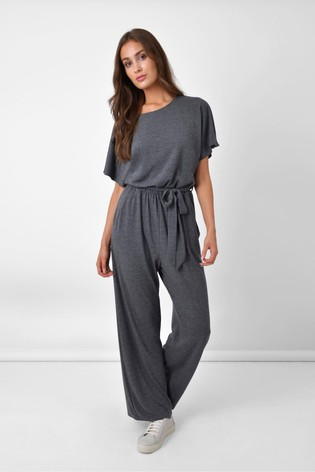Ro&Zo Grey Relaxed Jersey Jumpsuit