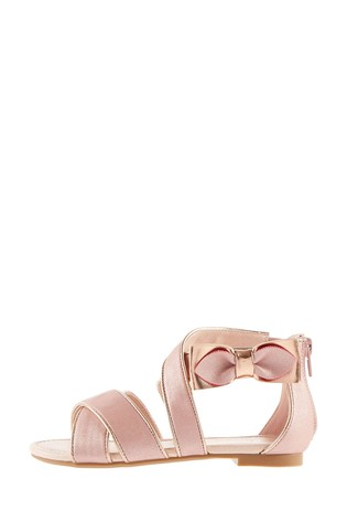 Monsoon Pink Shimmer Bow Strappy Sandals